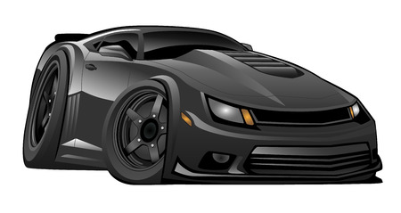 Black Modern American Muscle Car Illustration  イラスト・ベクター素材