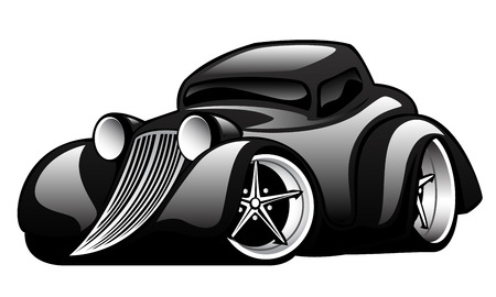 Black Classic Street Rod Illustration