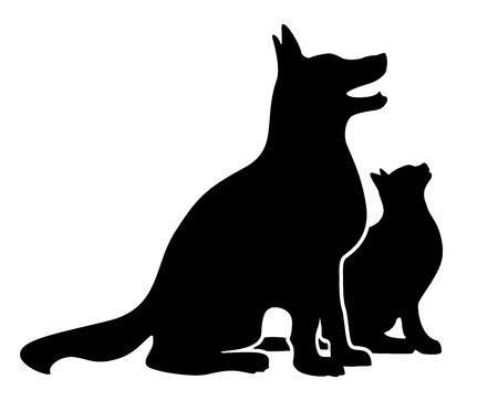 schattenbilder tiere: Hund und Katze Silhouette Illustration