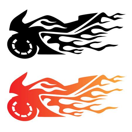 Flaming Sport Bike Motorcycle  Illustration
