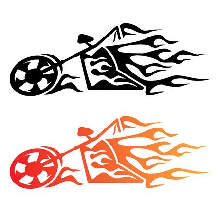 llamas de fuego: Flaming Custom Chopper Motocicleta
