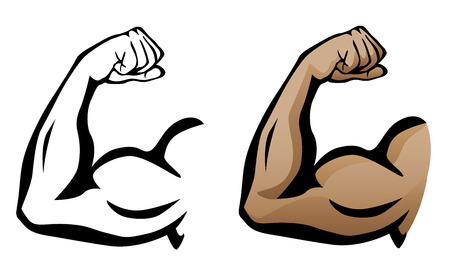 elbows: Muscular Arm Flexing Bicep Illustration
