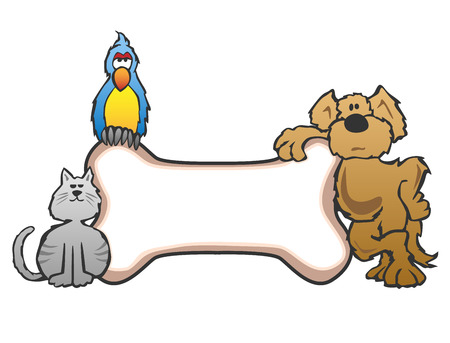 white dog: Dog Bird and Cat with Bone Pet Sign Logo Illustration