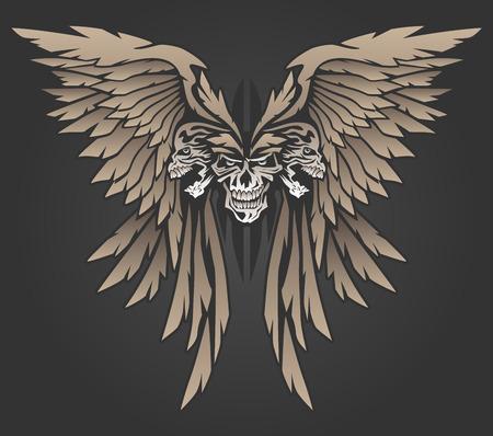 Three Skulls with Wings Illustration