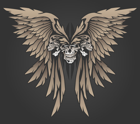 classic tattoo: Three Skulls with Wings Illustration