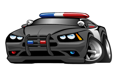 red sports car: Police Muscle Car Cartoon Illustration