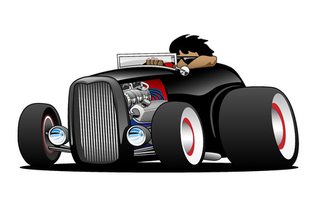hot rod: Classic Street Rod Hi Boy Roadster Illustration