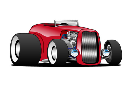 low tire: Classic Street Rod Hi Boy Roadster Illustration