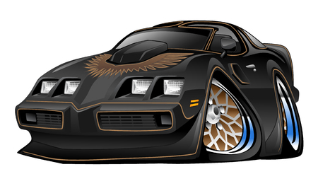 Classic American Black Muscle Car Cartoon Illustration