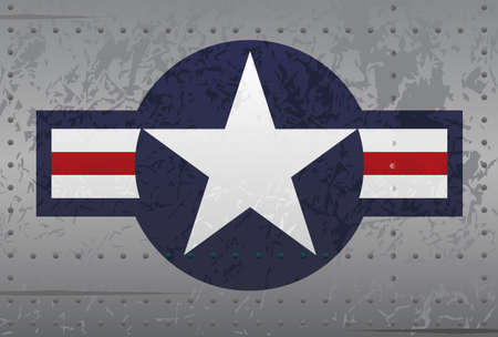 stars and stripes background: Military National Aircraft Insignia Distressed Illustration Illustration