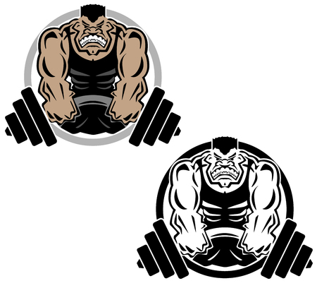 bicep curls: Weightlifting Muscle Fitness Gym  Illustration