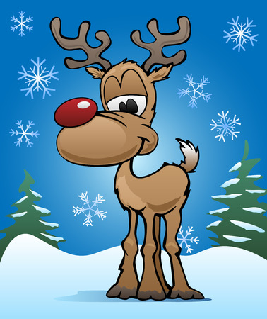 nose: Cute Christmas Holiday Red Nose Reindeer Illustration Illustration