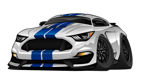 custom car: Modern American Muscle Car Cartoon Illustration