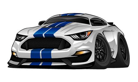 deportes caricatura: Modern American Muscle ilustraci�n de dibujos animados de coches Vectores