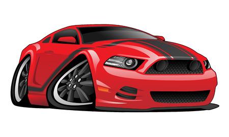 Red Muscle Car Cartoon Illustration Illustration