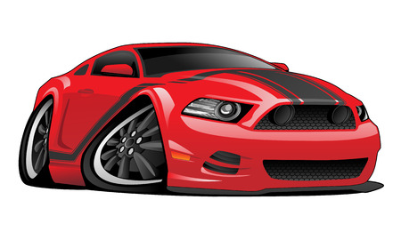 hotrod: Red Muscle Car Cartoon Illustration Illustration
