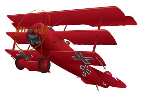 WWI Triplane Warbird Illustration