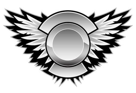 あなたのロゴおよびカスタム テキストのセンター エリアと翼のロゴ  イラスト・ベクター素材