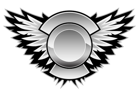 Wings logo with a center area for your logo and custom text