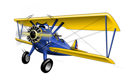 WWI Bi-plane Warbird Cartoon Illustration