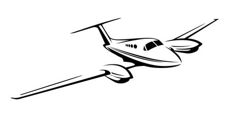 小さなプライベート ツイン エンジン飛行機のイラスト。  イラスト・ベクター素材