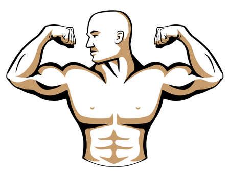 Male Body Builder Logo Illustration