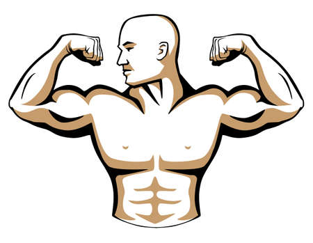 beefcake: Male Body Builder Logo Illustration