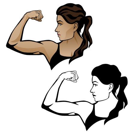 Female Fitness Woman Flexing Arm Illustration.