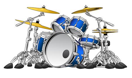 5 Piece Drum Set Musical Instrument Illustration