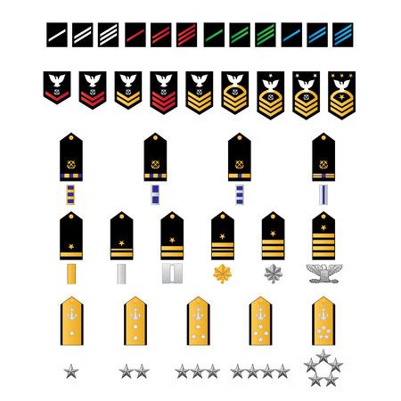 Naval Style Military Ranks Illustration