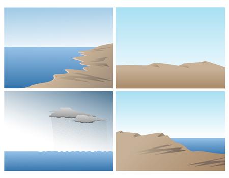Conjunto de vectores de escena con el océano, las dunas de arena y las colinas Ilustración de vector
