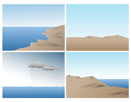 Scene vector set with ocean, sand dunes and hills Illustration