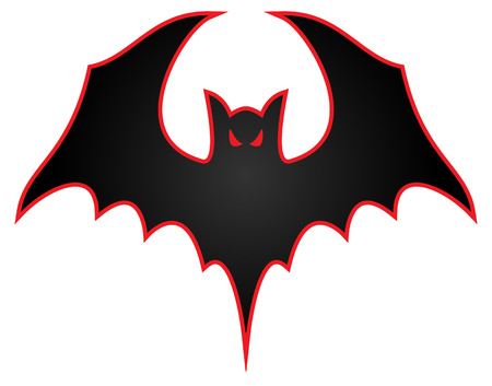 Bat with wings spread logo illustration
