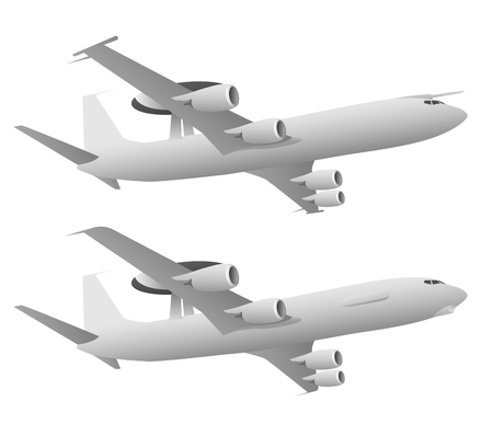 AWACS Airborne Warning and Control System Aircraft Illustration