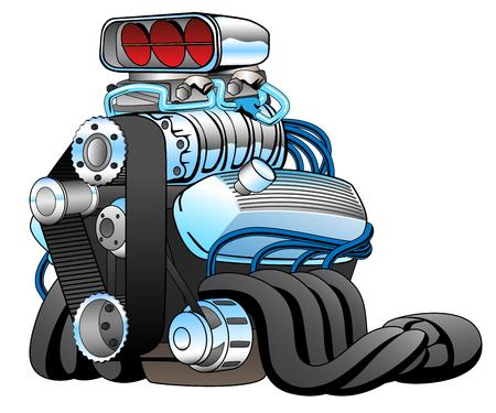 Hot Rod Race Car Engine Cartoon Vector Illustration