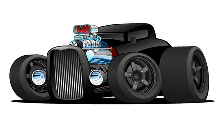 Hot Rod Vintage Coupe Custom Car Cartoon Vector Illustration Ilustração