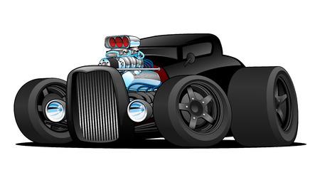 Hot Rod Vintage Coupe Custom Car Cartoon Vector Illustration Illustration