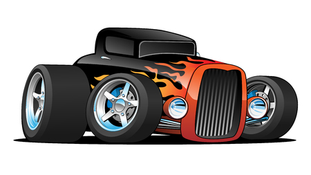 Hot Rod Classic Coupe Custom voiture Cartoon Illustration vectorielle Banque d'images - 86486726