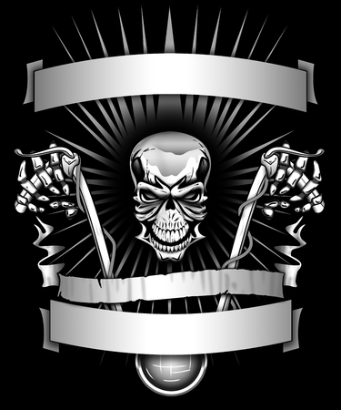 Biker skeleton riding motorcycle with banners graphic
