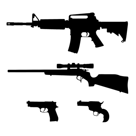 AR-15 style Semi-Automatic Rifle, Bolt Action Rifle and Pistols Silhouette Vector
