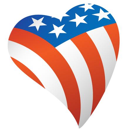 Patriotic American Flag USA Heart Vector Illustration Çizim