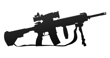 Military Style Automatic Rifle Silhouette Vector Illustration