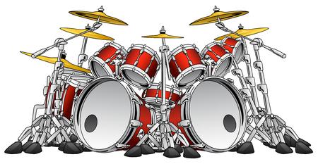 Ogromny 10-częściowy zestaw perkusji rockowej instrument muzyczny ilustracji