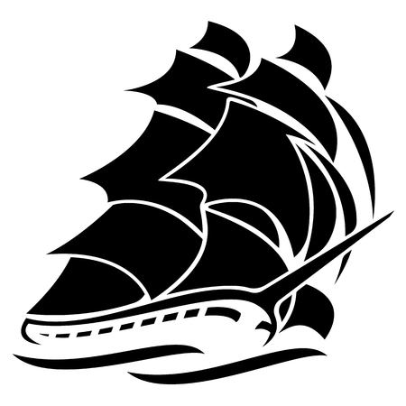 Old Tall Sailing Ship Vector Graphic Illustration.
