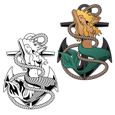 Mermaid woman on anchor vector illustration