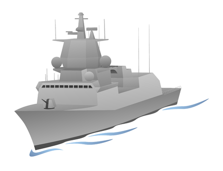 Naval Military War Ship Graphic Illustration.