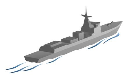 Naval military war ship vector graphic. Illusztráció