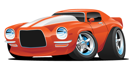 Classic Muscle Car Cartoon Illustration Vettoriali