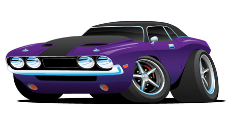 Classic Muscle Car Cartoon Illustration 矢量图像