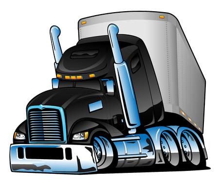 Semi Truck with Trailer Cartoon Vector Illustration  イラスト・ベクター素材